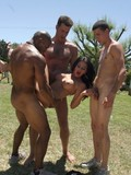 15 guys from the basketball team team up to bang hot beautiful brunette in the open air
