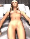 3D scene with big green egg turning into a perfect blonde female making guys� di