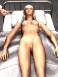 3D scene with big green egg turning into a perfect blonde female making guys' di