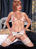 Glamorous redhead mom takes off her white lingerie and opens her love hole