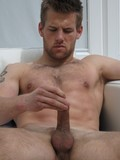 Inked hunk Bradley has relaxing jerk off session after washing the window with h