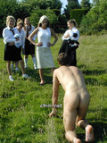 A group of perverted gadgets made the man stay on knees and bark like a dog