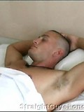 Sleeping amateur straight guy with hairy armpits gets his cock stroked for fun