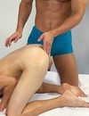 Guy gets his gay asshole finger fucked and his hard dick stroked during relaxing massage