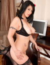 Black haired milfy lady Raven in black skirt and white blouse strips and opens h