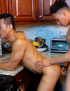 Hot asian gay guy with a sexy body gets his firm ass fucked and his happy face cum covered