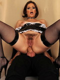 Hot bitch in latex maid uniform and stockings gets her butthole pounded