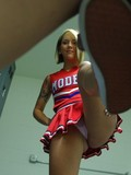 Playful uniformed cheerleader Ashton Pierce destroys boy's balls then eats his d