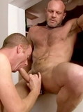 Skinny daddy gets his gay ass and mouth fucked by a pierced cock in a swing
