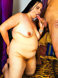 Long haired fattie in dreadlocks plays with vibrator and takes cock in her muff