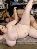 Pale skinned plump redhead with saggy juicy tits gets fucked in different positions