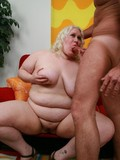 Fat pale skinned blonde with incredibly heavy body bounces on rock hard cock