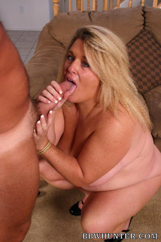 Blonde mature fucks a fatty