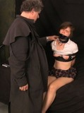 Tied up uniformed schoolgirl with long legs and juicy tits gets punished by older man