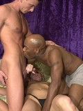 Black and white bisexuals share a sexy blonde with passion and enthusiasm