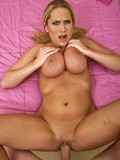 Dishy blonde plays with her monster boobs and enjoys hard dick in her horny fuck hole