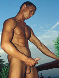 Tan skin guy gets nude and strokes his big size pocket rocket in the open air