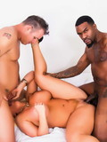 Black and white guys team up and fuck big tits blonde at both ends until she gets enough