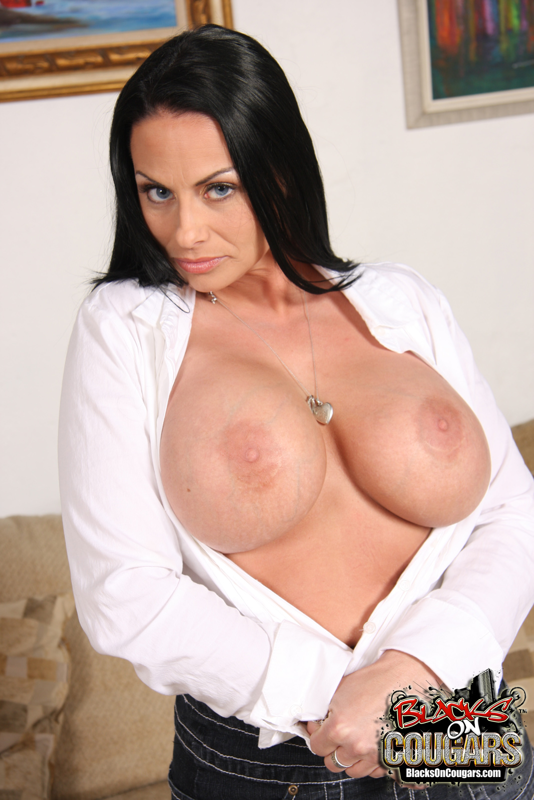 Big tits in white blouse