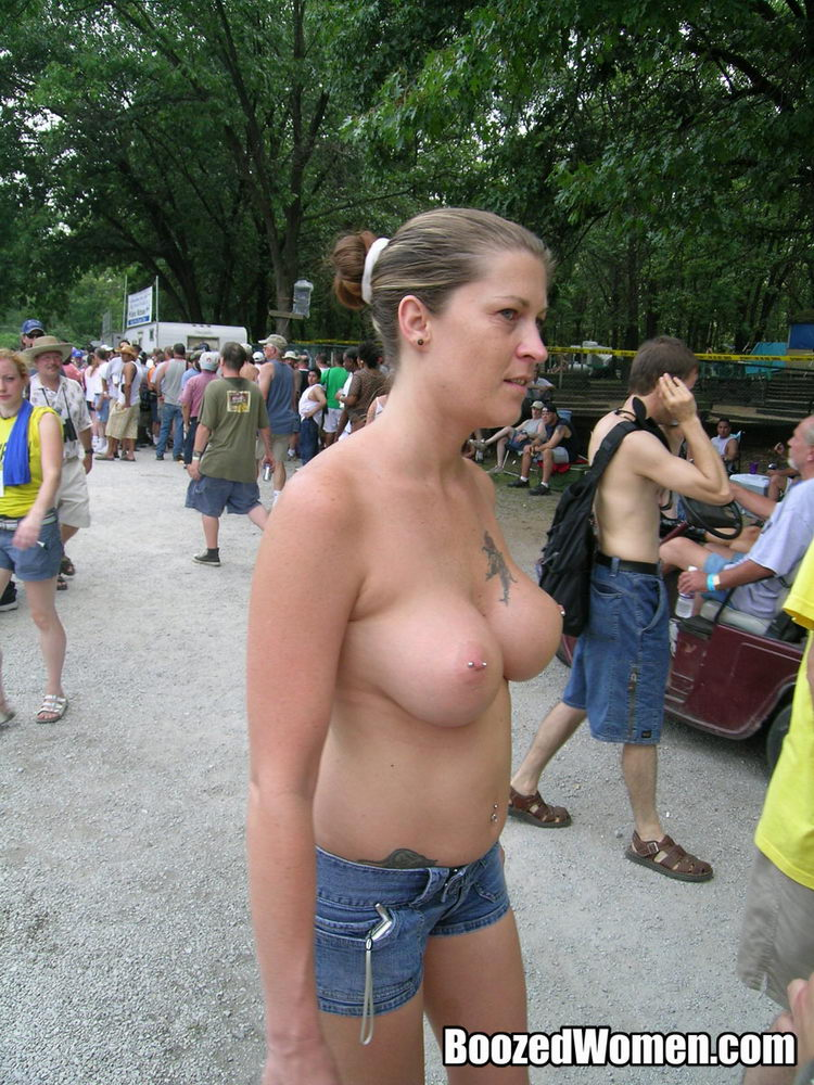 Very extremely busty young nude biker chicks titty flashing at biker rallies are
