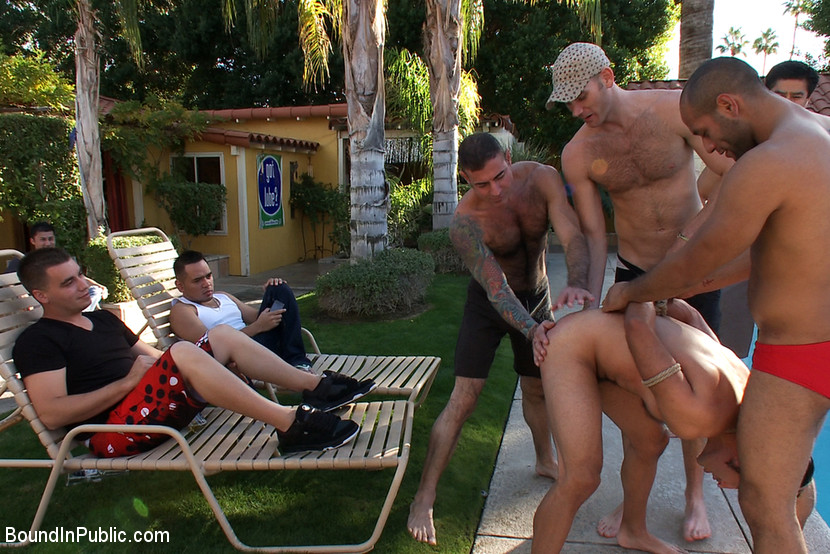 Black haired gay slave gets his mouth and ass seriously fucked at the  poolside
