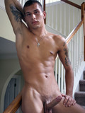 Sexy tattooed guy Eric Austyn with toned body and hard dick getting nude