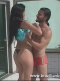Yummy raven haired latina gets her tanlined shaved pussy pussy eaten by the pool