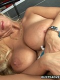 Charming long haired blonde gets her massive tits touched and her pussy pounded