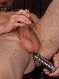 Submissive men get their gay asses fucked deep and rough by fast moving dildo