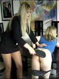 Chick in blue gets her amazingly sexy ass spanked by long haired woman