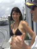Brunette removes her black bikini before she start to suck and fuck her buddy's rod