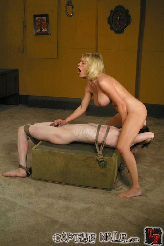 Naked male captive bound tightly