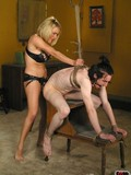 Nude skinny man gets tied up, spanked and fucked by tight nude blonde mistress