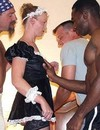 Classy white slut gets roughly drilled by three huge pistons of different races