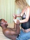 Ebony boy with long and ticking cock gets sucked by bestial curly bimbo