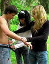 Eager to have sex with two girls guy follows them to the forest where they strip