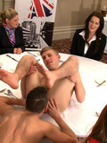 Gay guy gets his butthole licked and banged by his gay buddy in front of clothed women