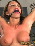 Big breasted brunette gets bound, tortured and fucked by domina with strap-on