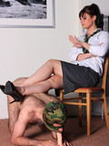 Naked hairy man in mask gets his mouth dildo fucked by kinky uniformed college g