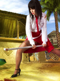 Erotic cosplay content with brunette in red and white schoolgirl uniform