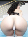 Long haired brunette Lady Rebeca with round ass enjoys thick dick in her pussy and gets facialized