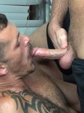 Young guy turns his gay buddies on by giving them an amazing double blowjob