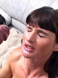 This hungry brunette babe will be surely provided with heavy cumshots after the double fuck