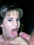 Hungry lady gets a mouthful of fresh cum and swallows after giving blowjob to thick dicked man