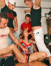 Gang of studs screwing her thorough