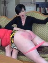 Ladies and men get serious spanked by black haired mature mistress in these pictures
