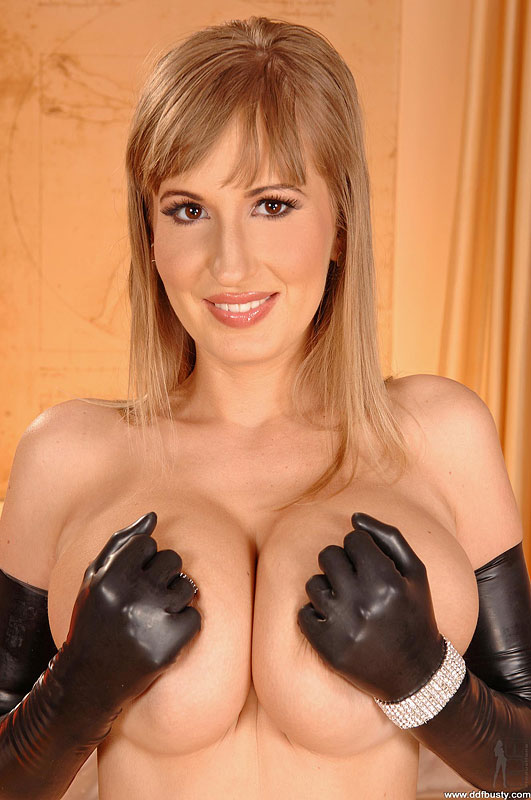 Big tits with gloves
