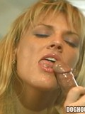 Busty blonde pornstar eats cock down then rides it to a strong orgasm with face shot