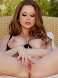 Big tits beauty goddess Emily Addison opens her legs and puts her gorgeous pussy on display