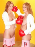 Hot girl Katie and another identically looking lady boxer play with man meat